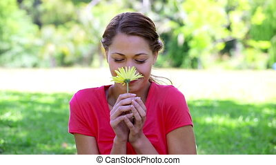 Happy brunette woman smelling a yellow flower in the...