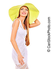 green hat - Beautiful young woman in light summer dress...