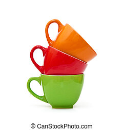 Coffee Mugs - Colorful coffee mugs over a white background
