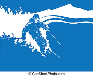 Downhill Skier - Illustration of a man skiing