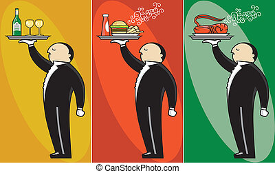 Upscale Waiter - Service waiter illustration. Three...