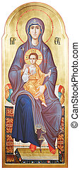 Mother of God Vergin Mary and Jesus Christ - The Icon a...