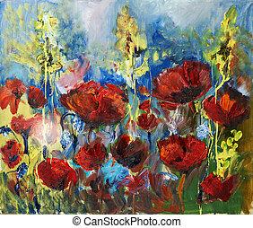 óleo, quadro, quadro, vermelho, primavera, papoula