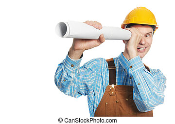 Happy worker in hardhat and overall with drafts
