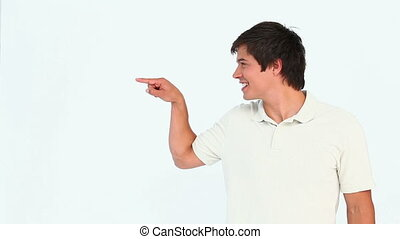 Man showing something with his finger