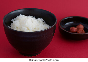 steamed rice with pickled plum