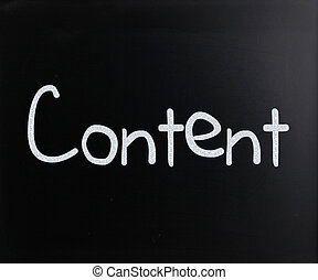 "The word ""Content"" handwritten with white chalk on a..."