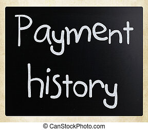 """Payment history"" handwritten with white chalk on a..."