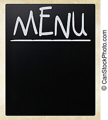 Blank blackboard with white chalk smudges used a restaurant menu.