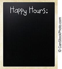 """Happy, Hours"", Manuscrito, branca, Giz, quadro-negro"