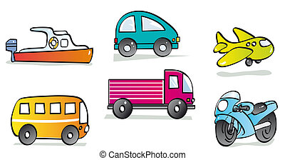 motor vehicles - boat, car, plane, bus, truck and motorcycle