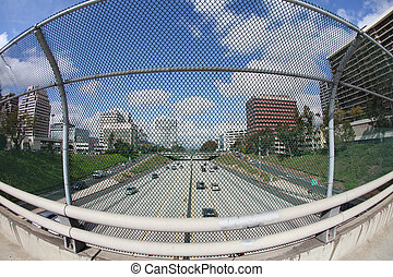 View of Glendale, CA and the 134 Freeway - Fisheye view of...