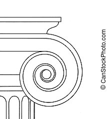Ionic capital - Line art drawing of a ionic capital