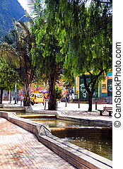 water running canals on Avenida Jimenez Parque de los...