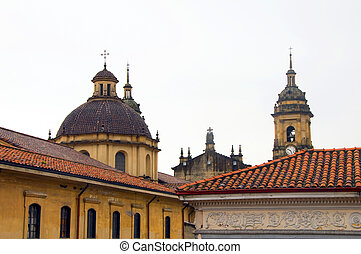 rooftop view Cathedral Primada Catedral Plaza Bolivar La Candelaria Bogota Colombia colorful architecture historic district