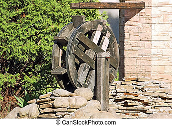 Vintage water mill wheel - Vintage decorative wooden water...