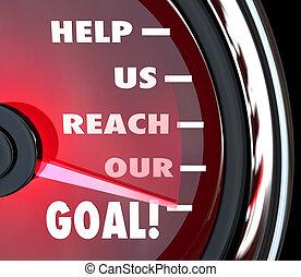 Ajuda, nós, alcance, nosso, meta, Velocímetro,...