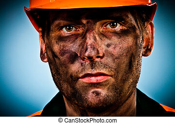 portrait oil industry worker - oil industry worker on blue...