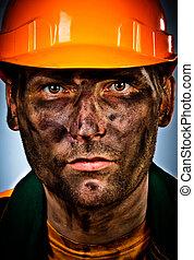 portrait oil industry worker - oil industry worker on blue...