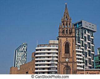 現代, 老, 公寓, 上升, 在中間, 高, 教堂, 新