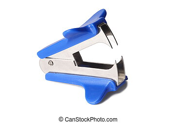 Staple Remover - Blue staple remover isolated on white...