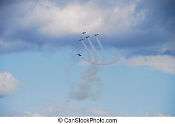 airplane circling - an airplane circling all the other four...