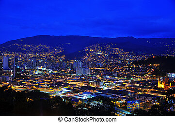 Medellin, Colombia at Night - A view of Medellin, Colombia...