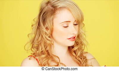 Young blonde girl looking off camer - Pretty girl with...