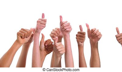 Close-up of hands with thumbs-up against white background