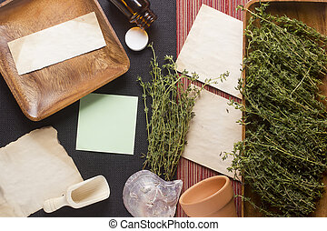 Thyme Background - Directly above photograph of thyme,...