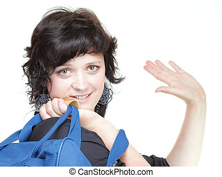 woman waving hand - goodbye, bag isolated - woman waving...