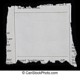 Newspaper clipping on black background