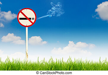 No smoking sign on fresh spring green grass