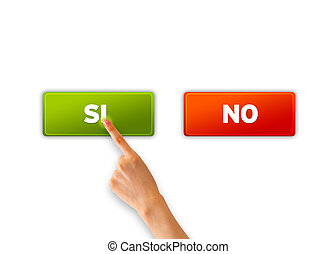 Si y No - A hand pointing at a green si icon