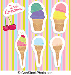 ice cream cones set - set of ice cream cones in different...
