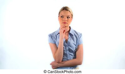 Thoughtful young businesswoman against white background