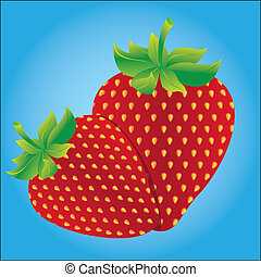 Strawberries isolated on blue background