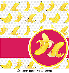 label peeled banana and peel on banana background pattern