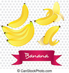 bananas set - bananas in different ways, isolated on white...