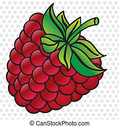 cartoon blackberry on white background with gray dots