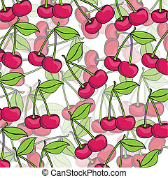 cartoon cherries grouped over each other in the different...