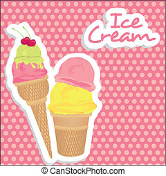 ice cream cones on pink background with light pink dots