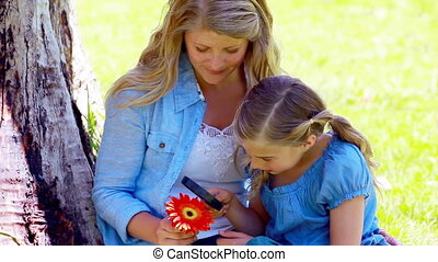 Girl using a magnifying glass on a flower with her mother in...