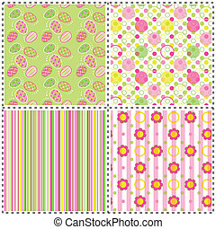 Set of Easter holiday seamless pattern