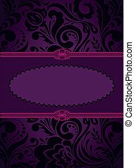 Vertical purple card - purple oval frame on an vertical...