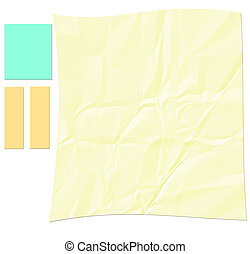 Crinkled paper with yellow note paper
