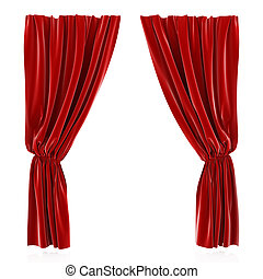 Red curtain - 3d render of red curtain isolated at white...