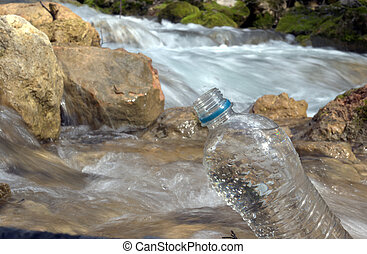 spring water and plastic bottle