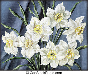 Flowers narcissus - Picture, still-life, flowers narcissus...