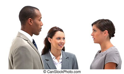 Woman talking to her colleagues against white background
